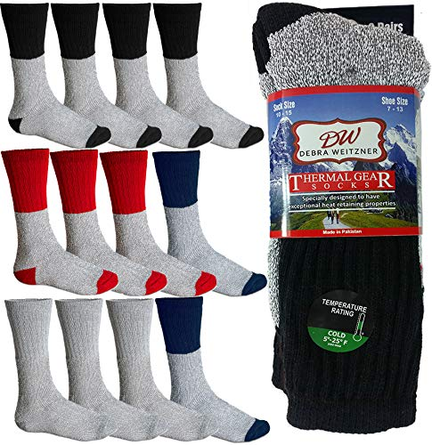 Mens Thermal Socks Ultra Warm Thick Boot Socks 12-pack Assorted By DEBRA WEITZNER,Assorted, 10-15