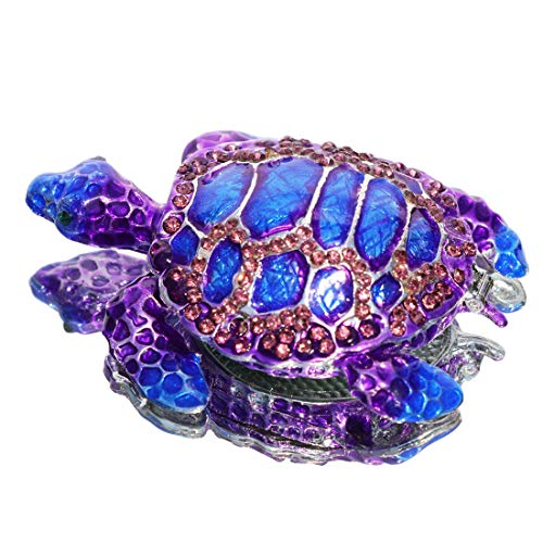 Waltz&F Purple Sea Turtle Figurine Collectible Hinged Trinket Box Bejeweled Hand-Painted Ring Holder