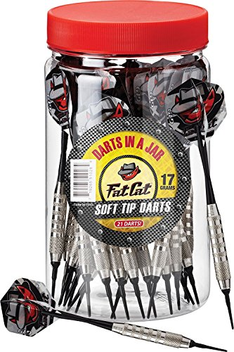 3 X Fat Cat Darts in a Jar: Soft Tip Darts with Storage/Travel Container, 17 Grams (Pack of 21)