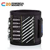 Magnetic Wristband with 20 Strong Magnets for Holding Screws Nails Drill Bits Gifts Gadgets Tools, Best Father's Day Gift for Men, Father/Dad, Husband, Boyfriend, DIY Handyman, Women-Black
