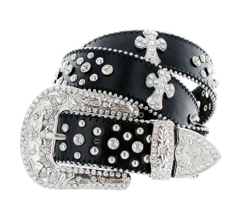 Rhinestone Cross Jeweled Studded Western Cowgirl Belt Black and White (Large)
