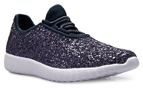 Womens Glitter Comfort Navy Fashion K Easy Sneakers Lightweight OLIVIA Sparkly Casual On Glitter TB4qczw5