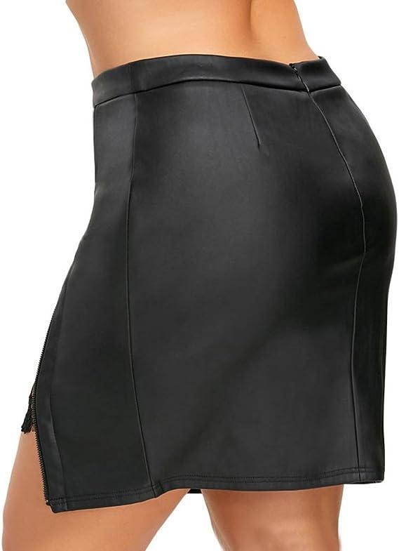 Logobeing Pantalones Cortos para Mujer Cuero Cintura Alta Piel ...