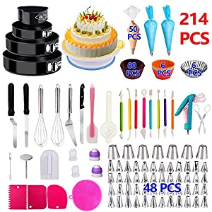 Cake Decorating Supplies 2020 Upgrade 367 PCS Baking Set with Springform Cake Pans Set,Cake Rotating Turntable,Cake…