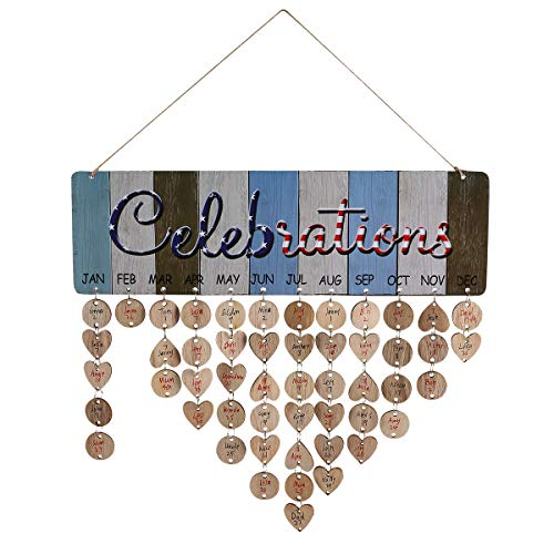 Joy-Leo DIY Wooden Perpetual Birthday Reminder Calendar Board Wall Hanging [100 Wood Discs/Flag Celebration Pattern ], for Family & Friends & Classroom, Gifts of Christmas Mother Father Day ()