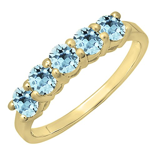 (Dazzlingrock Collection 14K Round Aquamarine Ladies 5 Stone Bridal Wedding Band Anniversary Ring, Yellow Gold, Size 6)