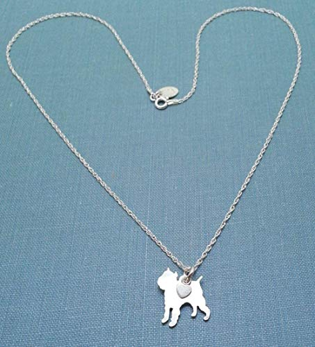 Brussels Griffon Sterling Dog charm Necklace Pet memorial silhouette Personalize Monogram jewelry