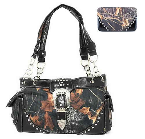 New Style Rhinestone Buckle Concho Camouflage Shoulder Handbag Purse with Matching Wallet in 5 Colors (Black)