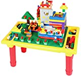 burgkidz Building Bricks Kids Building Blocks Table comes 200PCS Bulk Blocks Base Plate Kids Educational Building Bricks, Painting, Storage (200 Piece)