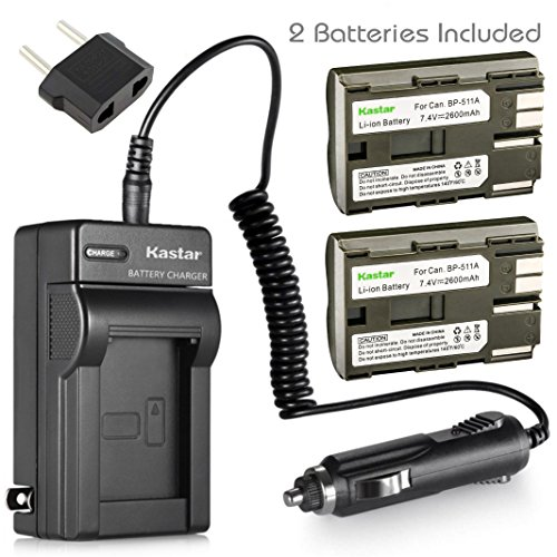 Kastar Battery (2-Pack) and Charger for Canon BP-511, BP-511A, BP511, BP511A and EOS 5D, 10D, 20D, 30D, 40D, 50D, Digital Rebel 1D, D60, 300D, D30, Kiss Powershot G5, Pro 1, G2, G3, G6, G1, Pro90 etc. ()