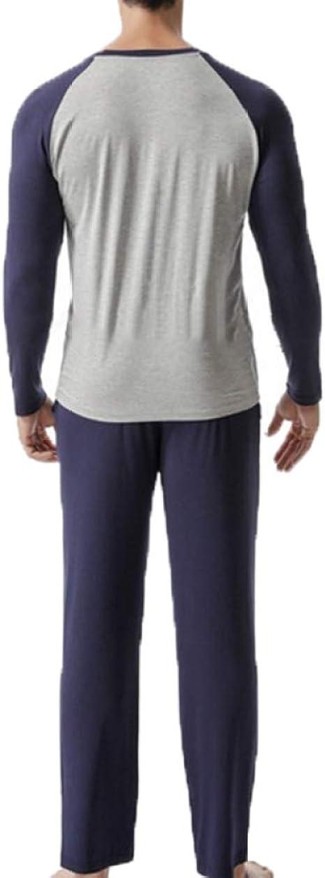 2 Piezas Pijama Hombre Largo Ropa de Dormir Algodon Modal Cuello en V Manga Larga Camiseta y Pantalon Conjuntos Oto/ño Invierno L-4XL