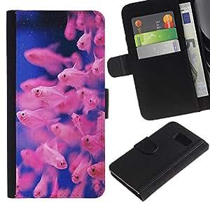 KingStore / Leather Etui en cuir / Samsung Galaxy S6 / Plongée Bleu Rose Coral Reef