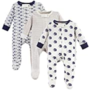 Touched by Nature Baby Organic Cotton Sleep and Play, 3 Pack, Hedgehog, 0-3 Months