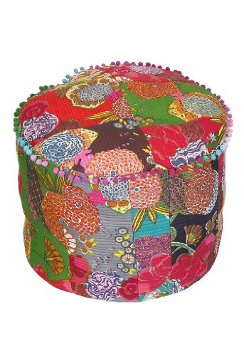 Floor Cushion Ottoman Fruit Printed Patchwork Foot Stool 20 By 15 Inches