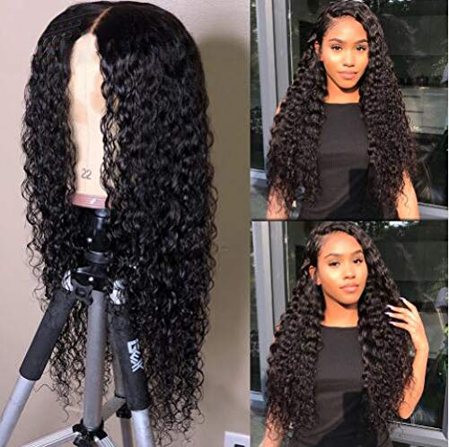 MsFan hair 360 Lace Frontal Wigs 180% Density Water Wave Human Hair Wigs with Baby Hair for Black Women Natural Color 14 inch