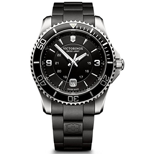 Mens Black Dial Strap Watch - Victorinox Swiss Army Men's 241698 Maverick Watch with Black Dial and Black Rubber Strap