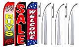 Best buys here sale Welcome King Swooper Feather Flag Sign Kit With Pole and Ground Spike- Pack of 3