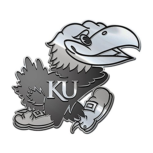 Jayhawk Decal - NCAA Kansas Jayhawks Premium Metal Auto Emblem