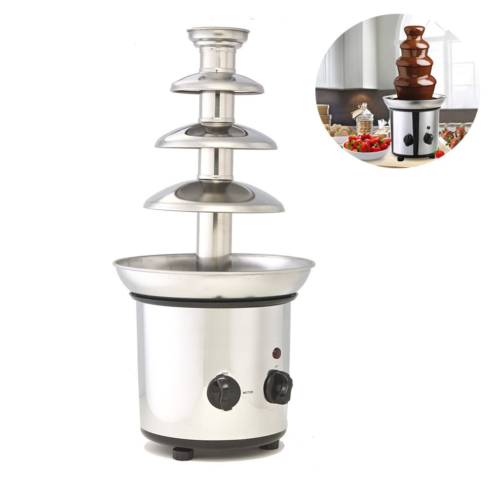 Chocolate Fountain, 4 Tiers Commercial Stainless Steel Hot New Luxury Chocolate Fondue Fountain, 2.2lb Capacity