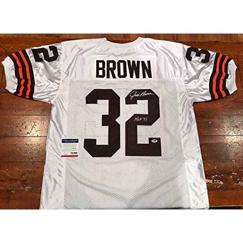 new concept ae467 18bf7 Jim Brown Autographed Jersey - Custom HOF 71 - PSA/DNA ...