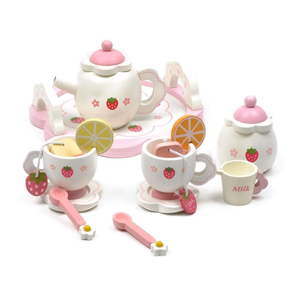 Kleinkind Rollenspiel Tee-Set Spielzeug aus Holz Erdbeer Nachmittagstee-Set Kitabetty Kinder Tee-Set als spielen Sie Tee-Party-Set Spielzeug Kinderspielhaus Spielzeug so tun