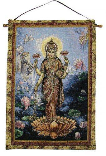 Lakshmi Orange Lotus Tapestry Wall Hanging by Circles of Light Imports