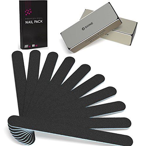 Buffer Nail File (100/180 10 pack Nail File / Emery Board with 2 Piece Buffer Block Set - For Smooth & Shiny Nails - Home or Professional Manicure / Pedicure Kit)