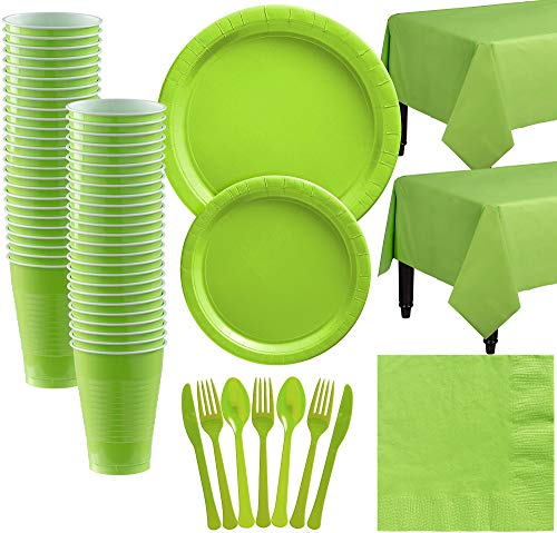 Party City Big Party Pack Kiwi Green Paper Tableware Kit and Supplies for 50 Guests, Includes Table Covers and More