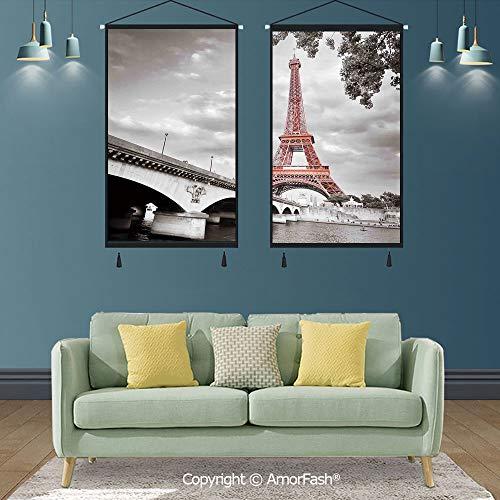 Paris City Decor,Printed Artwork Paper Map Photo Door Wall Hanging,for Home Living Room & Office Decor,Eiffel Tower Bridge Capital City Cloudscape Monochrome Selective Colorization Picture -