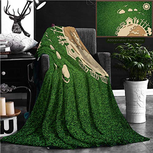 Nalagoo Unique Custom Flannel Blankets Environmental Green Energy Concept Illustration With Cardboard Cut Out On Grass Super Soft Blanketry for Bed Couch, Throw Blanket 70