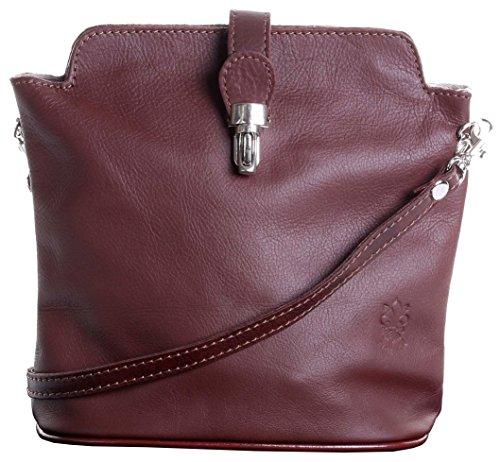 En cuir italien fait main petite autruche effet fermoir Front Croix corps ou sac à main.Comprend un sac de rangement protecteur marque. Mi Marron