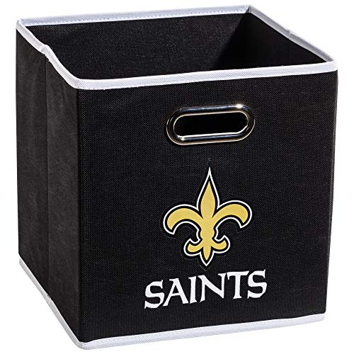 Franklin Sports NFL New Orleans Saints Fabric Storage Cubes - Made To Fit Storage Bin Organizers (11x10.5x10.5