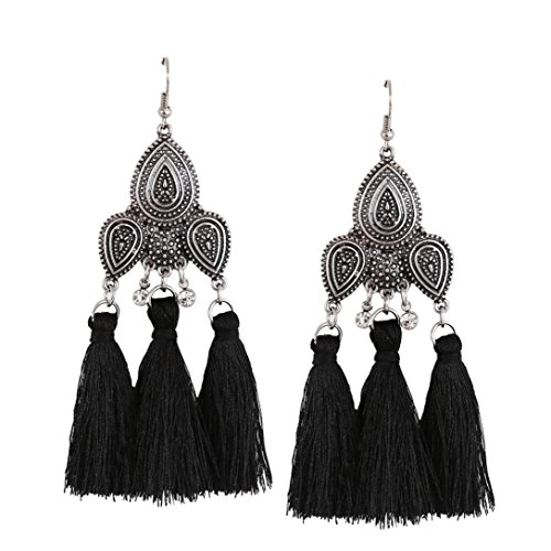 DENER Fashion Jewelry Bohemian Earrings Women Long Tassel Fringe Dangle Earrings (Black) Diamond Cut Bead Fringe
