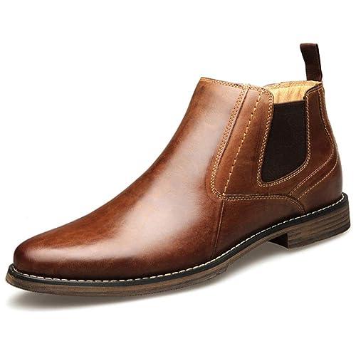 Botines Chelsea De Cuero para Hombre Zapatos De Vestir De Negocios De Corte Alto Vintage Moda Casual Martin Chukka Boots: Amazon.es: Zapatos y complementos