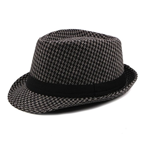 CBriskaari Houndstooth Hat Jazz Hat Gentleman Cap All-Match Hat by CBriskaari