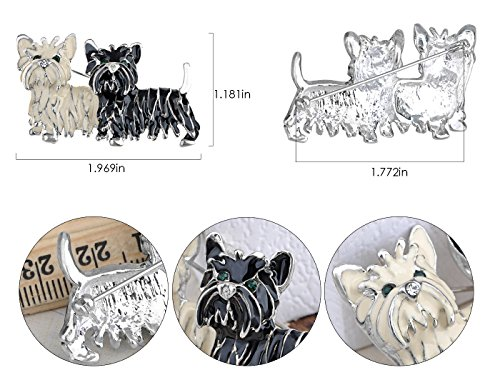 Alilang Cute Black White Shih Tzu Terrier Dog Puppy Love Enamel Cartoon Furry Animal Brooch Pin by Alilang (Image #6)