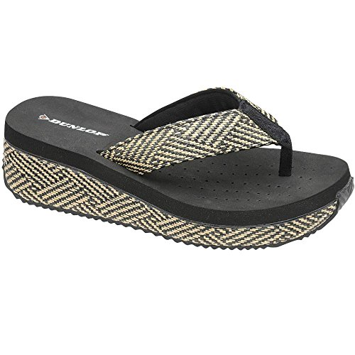 Dunlop - Chanclas chica mujer Black-Woven