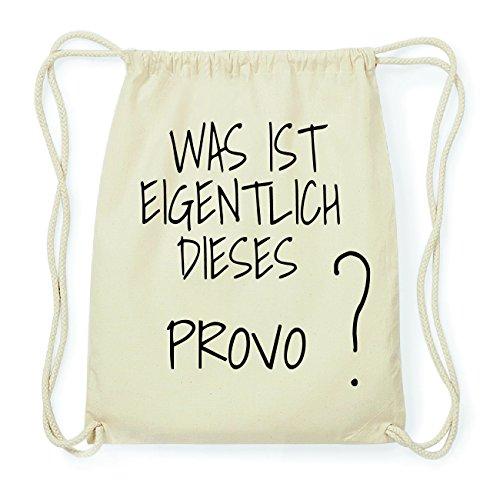 JOllify PROVO Hipster Turnbeutel Tasche Rucksack aus Baumwolle - Farbe: natur Design: Was ist eigentlich