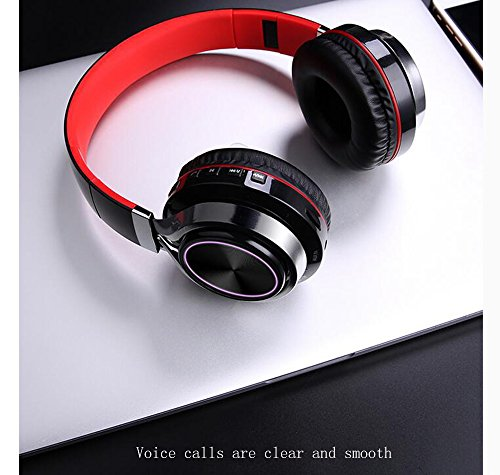 LILINA Wireless Light Bluetooth Headset Head-Mounted Game Sports Running Headset Computer Mobile Phone Universal Long Standby Card Music Bass Can Answer The Phone,Blackred by LILINA (Image #1)