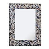 Multi-Colored & Silver, Luxe Mosaic Glass Framed Wall Mirror, Decorative Embossed Mosaic Rectangular Vanity Mirror / Accent Mirror (18'' X 24'')