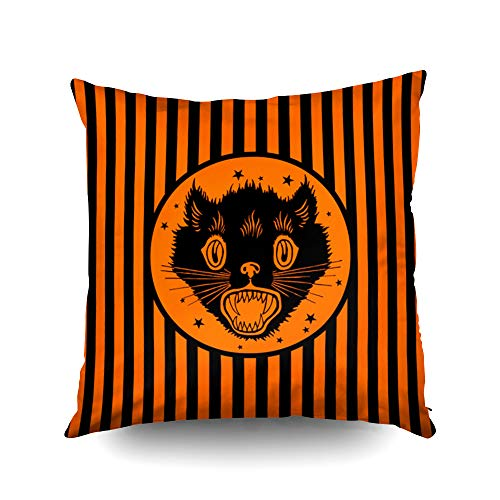 Capsceoll Vintage Black cat Halloween Design Decorative Throw Pillow Case 18X18Inch,Home Decoration Pillowcase Zippered Pillow Covers Cushion Cover with Words for Book Lover Worm Sofa Couch
