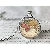 World Map Necklace, Antique Map Necklace, Globe Necklace