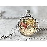 World Map Necklace, Antique Map Necklace, Globe Necklace (6)
