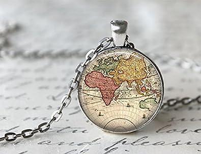 Amazon world map necklace antique map necklace globe world map necklace antique map necklace globe necklace gumiabroncs Images