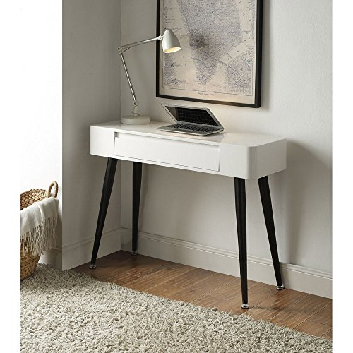 4D Concepts & White Console Desk with Drawer (Black Lacquer Console Table)