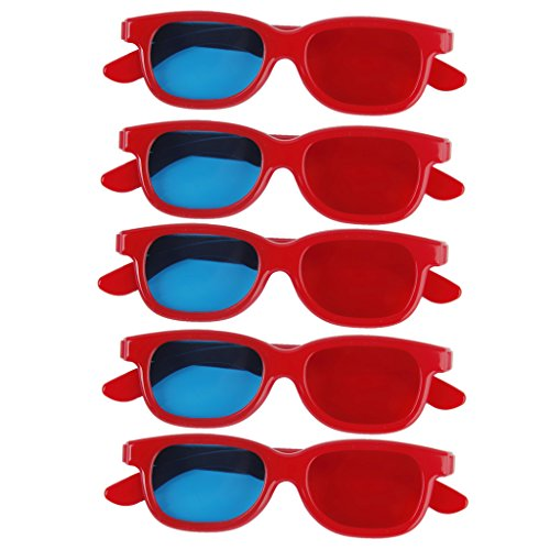 5 Pair Children Red/Blue 3D Glasses Anaglyph Glasses Red