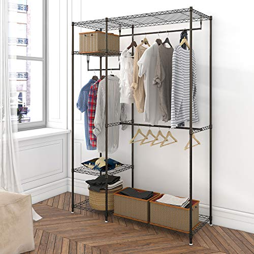 Lifewit Metal Closet Freestanding Garment Rack Wire Shelving Clothes Rack Wardrode Organizer with Hanging Rack, Adjustable Legs, Dark Brown