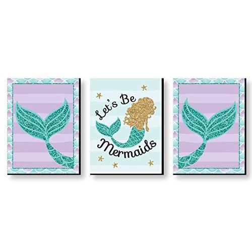 "Lets Be Mermaids - Baby Girl Nursery Wall Art, Kids Room Decor & Home Decorations - 7.5"" x 10"" - Set of 3 Prints"