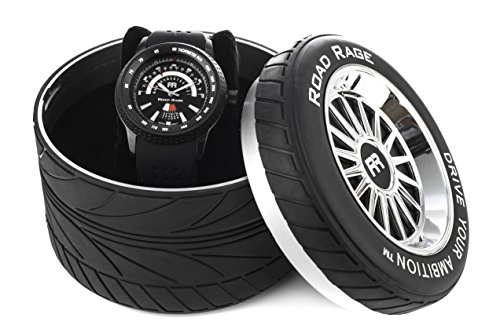 (Road Rage Men's Sports Car Watch. RR101.Black Grand Prix. Automobile Dashboard design. Tire gift box.)