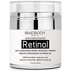 Baebody Retinol Moisturizer Cream for Face and Eye Area - With Retinol, Hyaluronic Acid, Vitamin E. Anti Aging Formula Reduces Look of Wrinkles, Fine Lines. Best Day and Night Cream. 1.7 Fl Oz